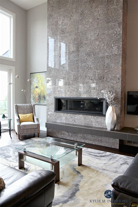 contemporary design living room  tall tile fireplace