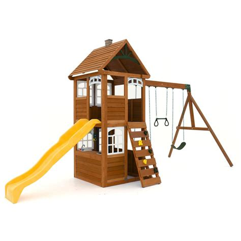 swing sets home depot cedar summit willowbrook wooden playset the home depot