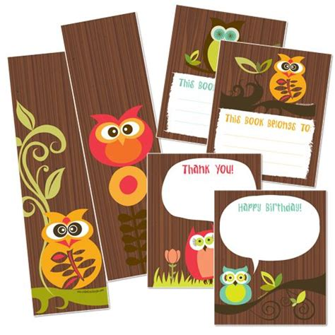 printable owl card owl bookmarks and more owls pinterest thank you