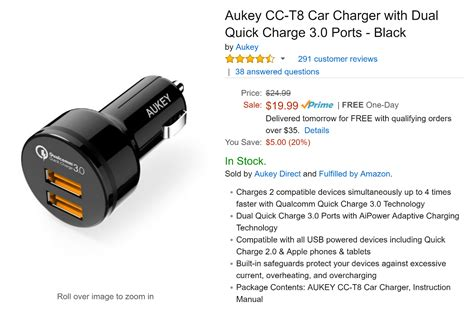 Aukey Charge 3 0 Car Charger With Dual Ports Mode Limited deal alert get an aukey car charger with dual