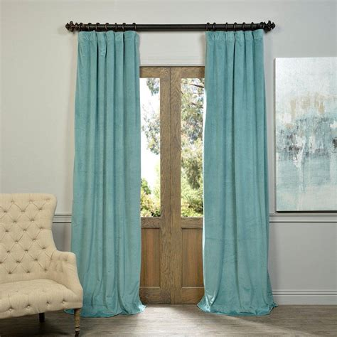 Aqua Blackout Curtains Exclusive Fabrics Furnishings Signature Aqua Mist Blue Blackout Velvet Curtain 50 In W X 84