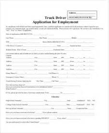 truck driver application template free application forms