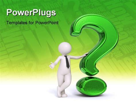 Question Powerpoint Template 3d business standing near a green question