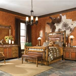 western bedroom with cowhide wall hanging wall colors