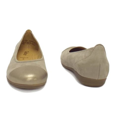 gabor flat shoes gabor shoes pleasure flat ballet in gold and