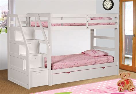 Bunk Bed With Trundle And Drawers White Finish Size Bunk Bed With Trundle Stairs Drawers Storage Ebay
