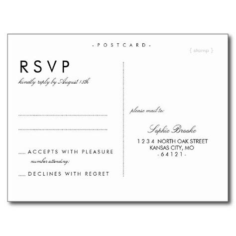 Response Cards For Wedding Template by Simple Chic Wedding Rsvp Postcard Template Wedding