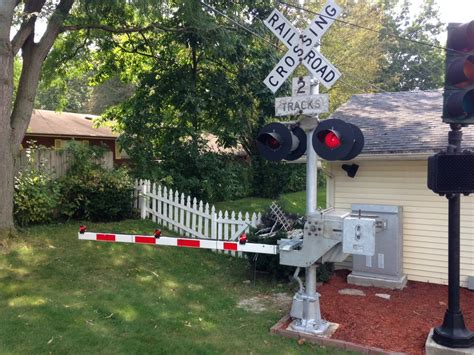 backyard railroad crossing signal and gate test run youtube