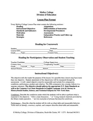 Lesson Plan Template Forms Fillable Printable Sles For Pdf Word Pdffiller College Lesson Plan Template