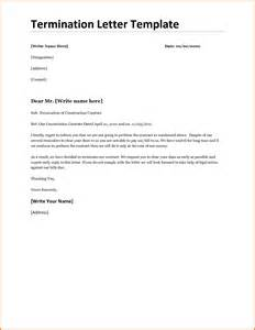 termination of contract letter letter ending a contract