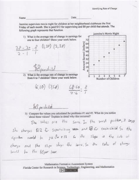 average rate of change from a table worksheet pictures rate of change worksheet getadating