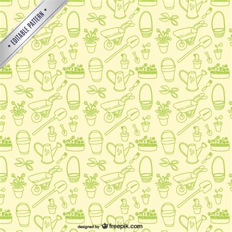 ai new pattern garden tools editable pattern vector free download