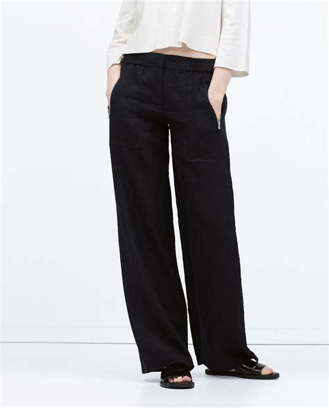 zara trousers with elastic waistband zara linen trousers with elastic waist in blue navy blue lyst