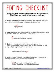 Self Editing Checklist For Literature Review by Editing Checklist