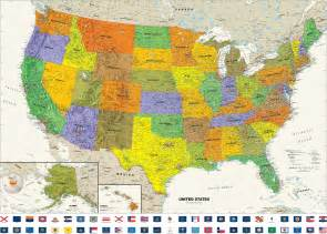 contemporary usa wall map with state flags