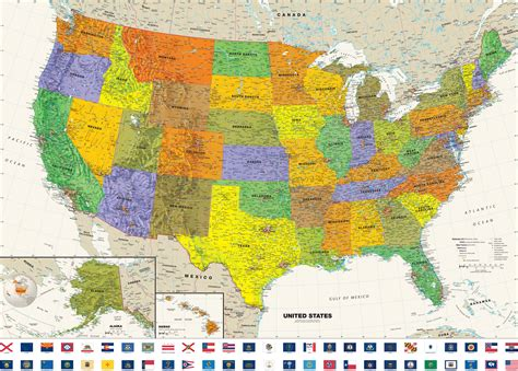 a big map of the united states contemporary usa wall map with state flags