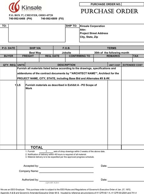 the purchase order template can help you make a