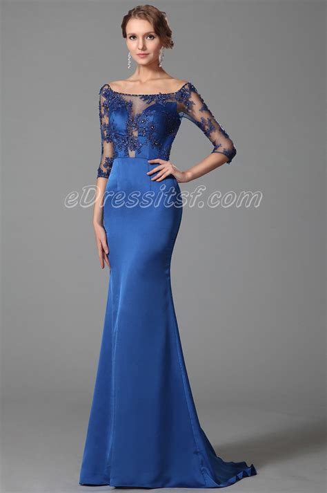 blue shoulder half sleeves prom dress evening