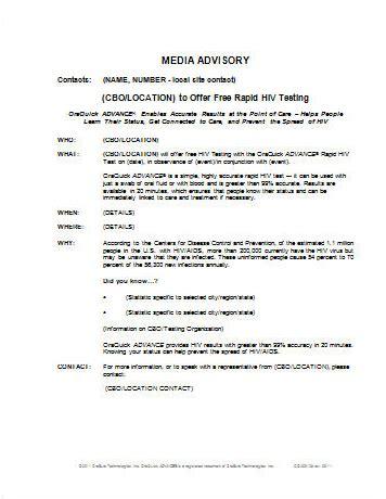 media alert template infectious disease testing