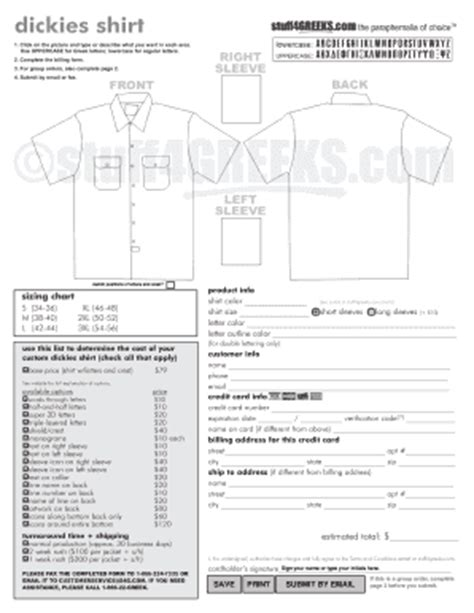 t shirt order form template pdf fillable printable