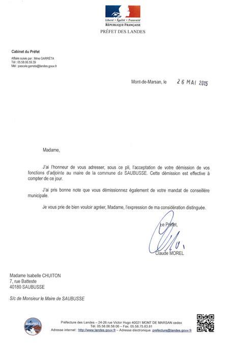 Exemple De Lettre De Demission Adjoint Au Maire Site De La Mairie De Saubusse D 233 Mission De Madame