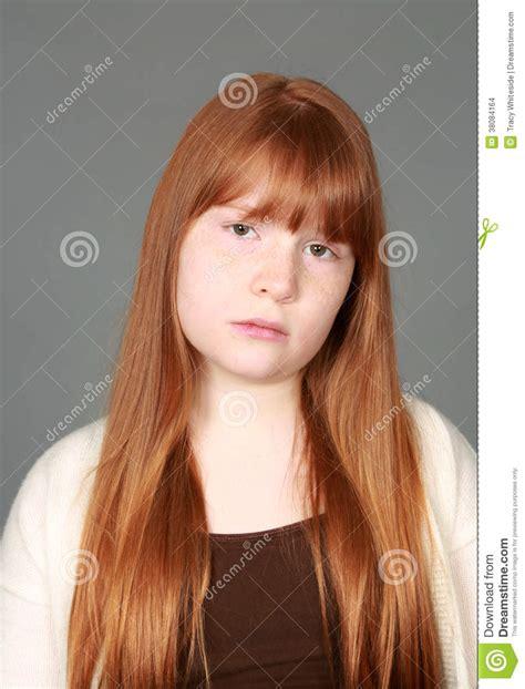 tween freckles sad tween redhead girl with freckles stock images image