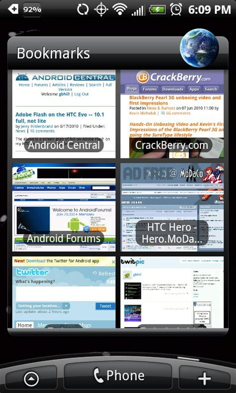 inside the great bookmark thumbnail scare of june 17 2010 aka relax android central - Android Bookmark Widget