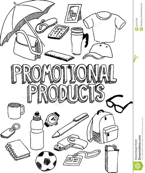 item doodle draw promotional products doodle stock vector image 32410700