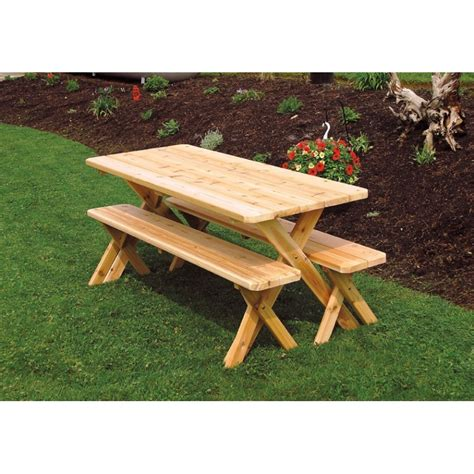 table with two benches cedar 4 cross leg picnic table a l