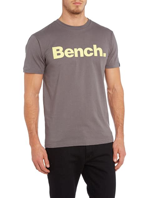 bench for men bench logo t shirt in gray for men grey lyst