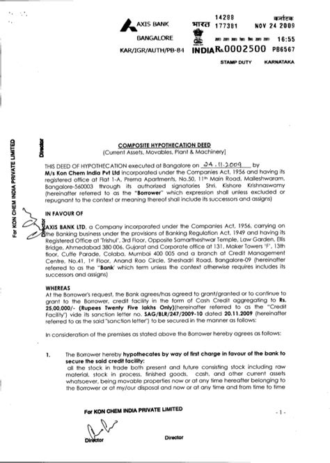 Agreement Letter For Bank Axis Bank Loan Agreement