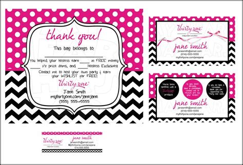 partylite business card template thirty one business bundle custom printable digital