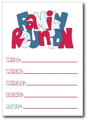 Reunion Party Invitations Graphics And Templates Family Card Template 2