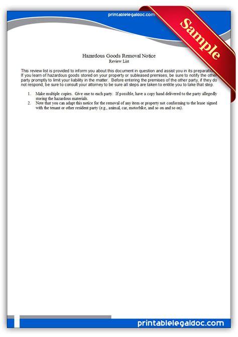 printable hazardous goods removal notice