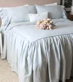 ruffled linen shabby chic duvet cover the by tickingandtoile
