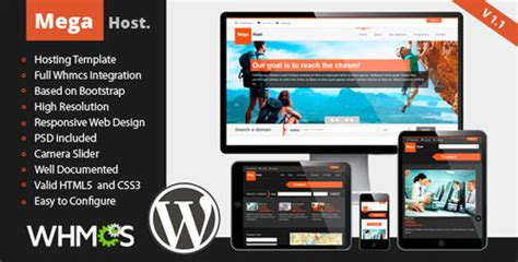 megahost themeforest responsive hosting wp template