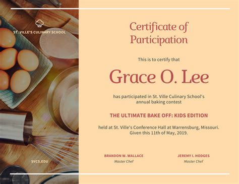 peach and orange culinary participation certificate