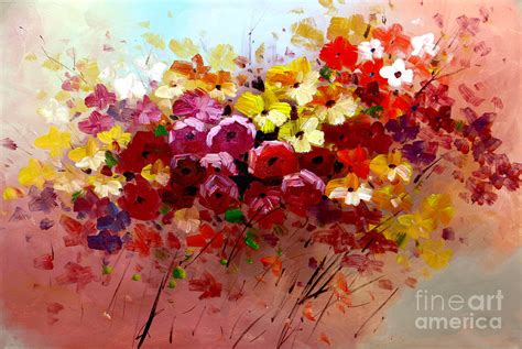 the modern flower painter sunrise flowers abstract oil painting original modern contemporary art house wall deco
