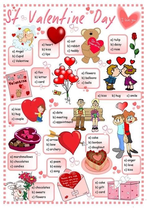 valentines card esl st s day quiz