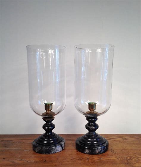 Large Decorative Candle Holders Pair Of Large Black Marble And Glass Hurricanes At 1stdibs