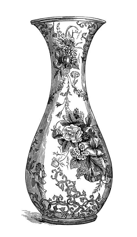 Vase Illustration by Floral Vase Engraving Free Vintage Clip Design