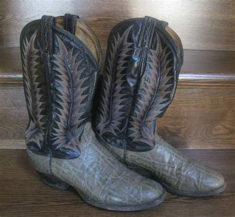 tony lama elephant hide boots size 8d nicely broken