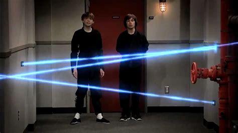 Alarm Laser passes through security lasers