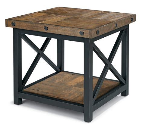 best sided for woodworking square end table with wood plank top by flexsteel wolf