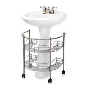 bathroom the sink storage rolling organizer for pedestal sink bed bath beyond