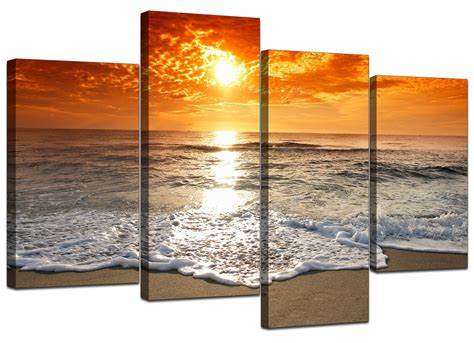 Canvas Prints | orange beach sunset canvas prints 130cm x 67cm