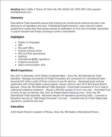 Trading Assistant Cover Letter by Professional International Trade Specialist Templates To Showcase Your Talent Myperfectresume