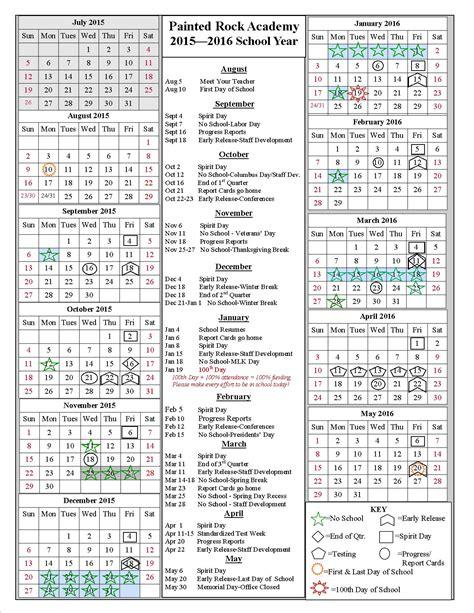 2015 School Year Calendar School Year Calendar 2015 2016 Painted Rock Academy