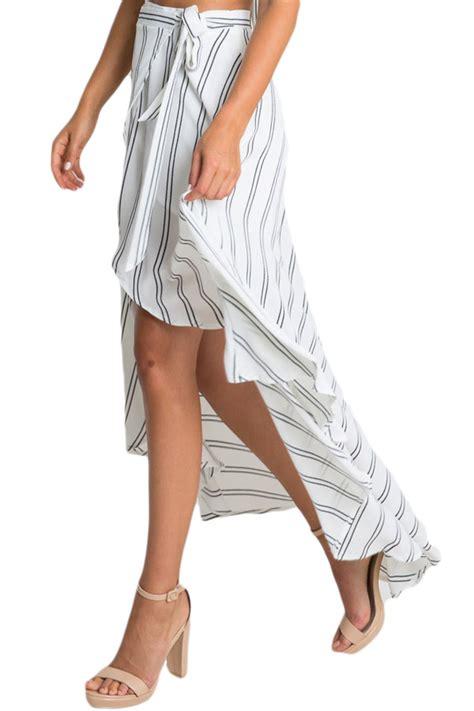 wholesale dl stripe print asymmetrical wrapped white maxi