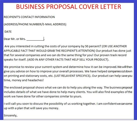 business proposal cover letter images